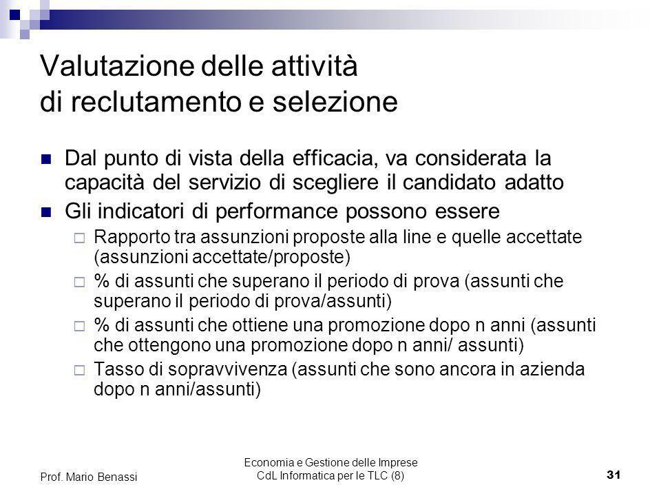 Economia e Gestione delle Imprese CdL Informatica per le TLC (8)31 Prof. Mario Benassi Valutazione delle attività di reclutamento e selezione Dal punt
