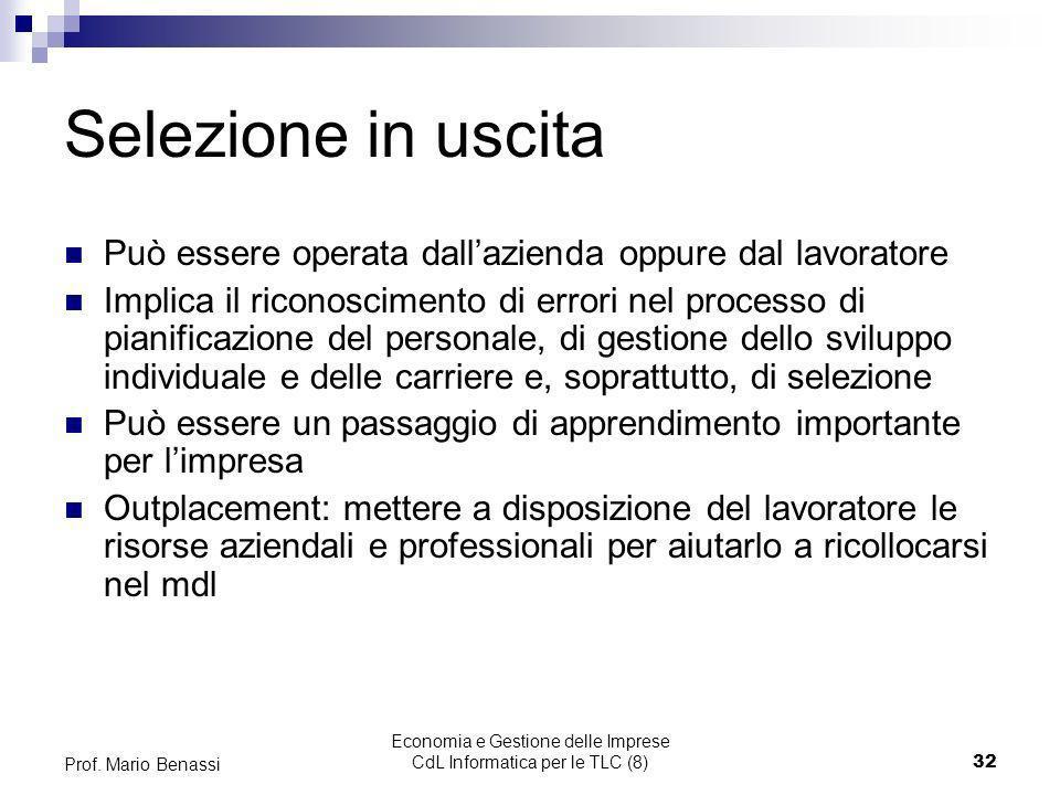 Economia e Gestione delle Imprese CdL Informatica per le TLC (8)32 Prof. Mario Benassi Selezione in uscita Può essere operata dallazienda oppure dal l