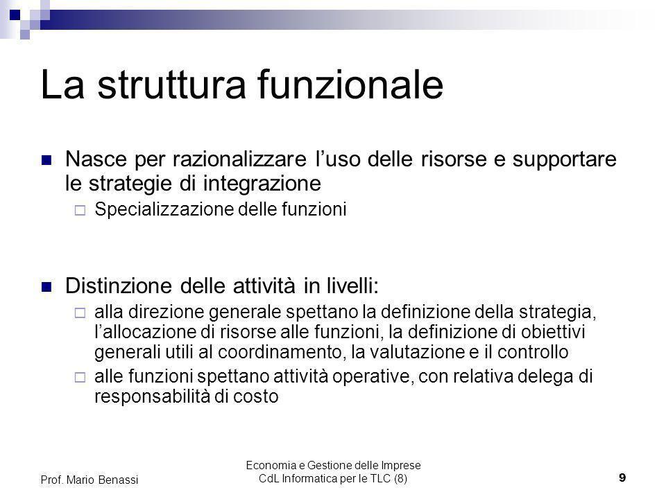 Economia e Gestione delle Imprese CdL Informatica per le TLC (8)9 Prof. Mario Benassi La struttura funzionale Nasce per razionalizzare luso delle riso