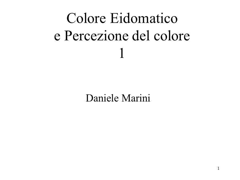 1 Colore Eidomatico e Percezione del colore 1 Daniele Marini