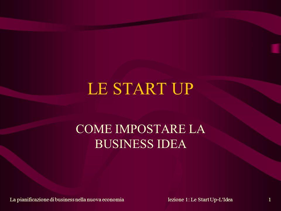 La pianificazione di business nella nuova economialezione 1: Le Start Up-L'Idea1 LE START UP COME IMPOSTARE LA BUSINESS IDEA