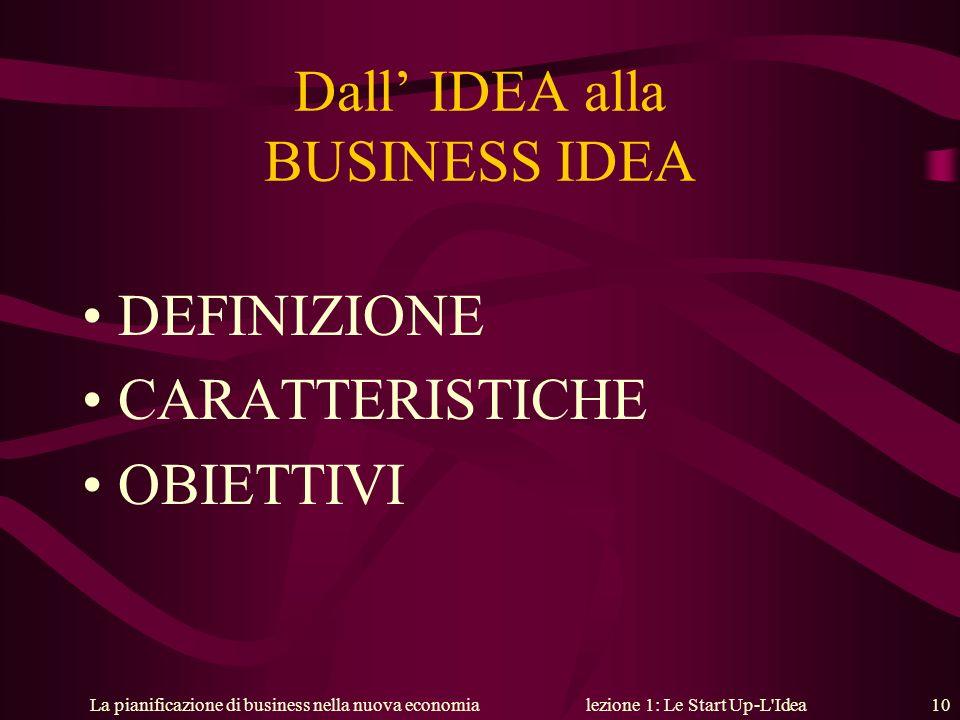 La pianificazione di business nella nuova economialezione 1: Le Start Up-L'Idea 10 Dall IDEA alla BUSINESS IDEA DEFINIZIONE CARATTERISTICHE OBIETTIVI