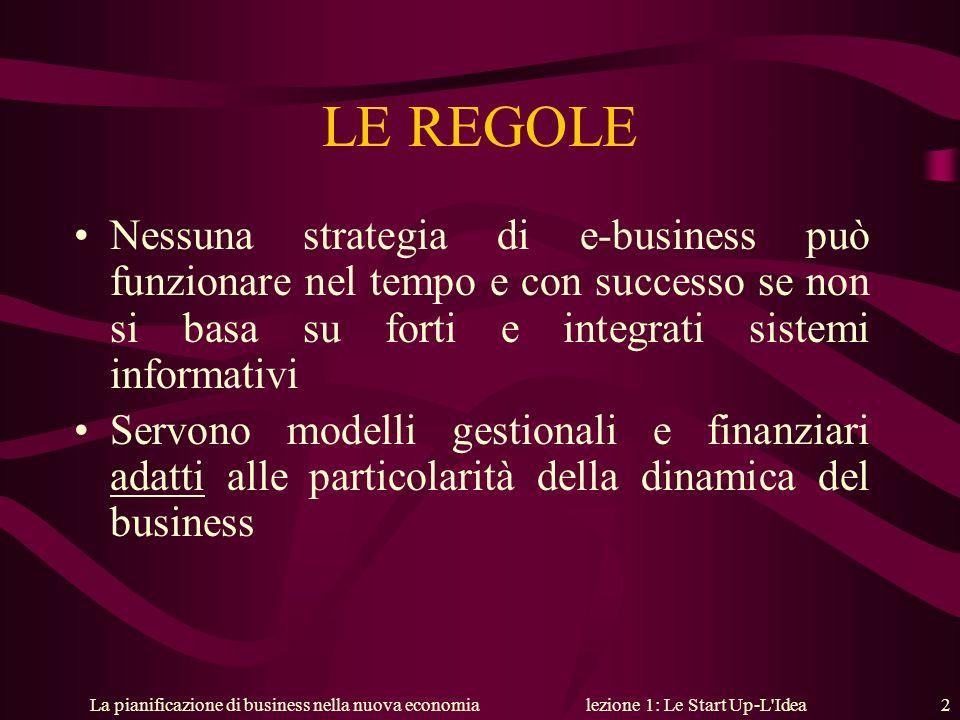La pianificazione di business nella nuova economialezione 1: Le Start Up-L'Idea 2 LE REGOLE Nessuna strategia di e-business può funzionare nel tempo e