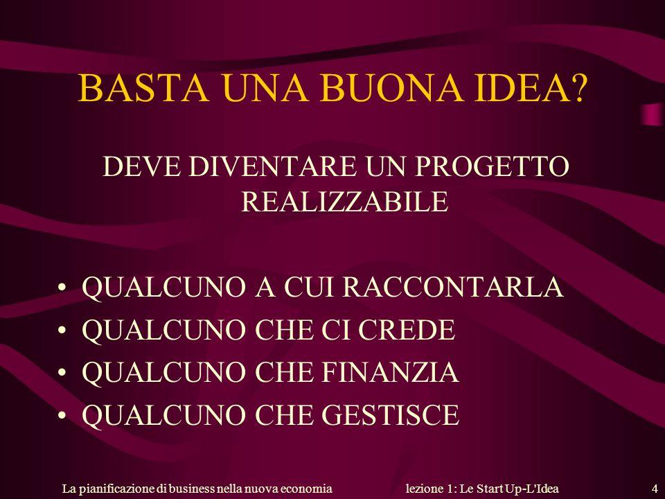 La pianificazione di business nella nuova economialezione 1: Le Start Up-L'Idea 4 BASTA UNA BUONA IDEA? DEVE DIVENTARE UN PROGETTO REALIZZABILE QUALCU