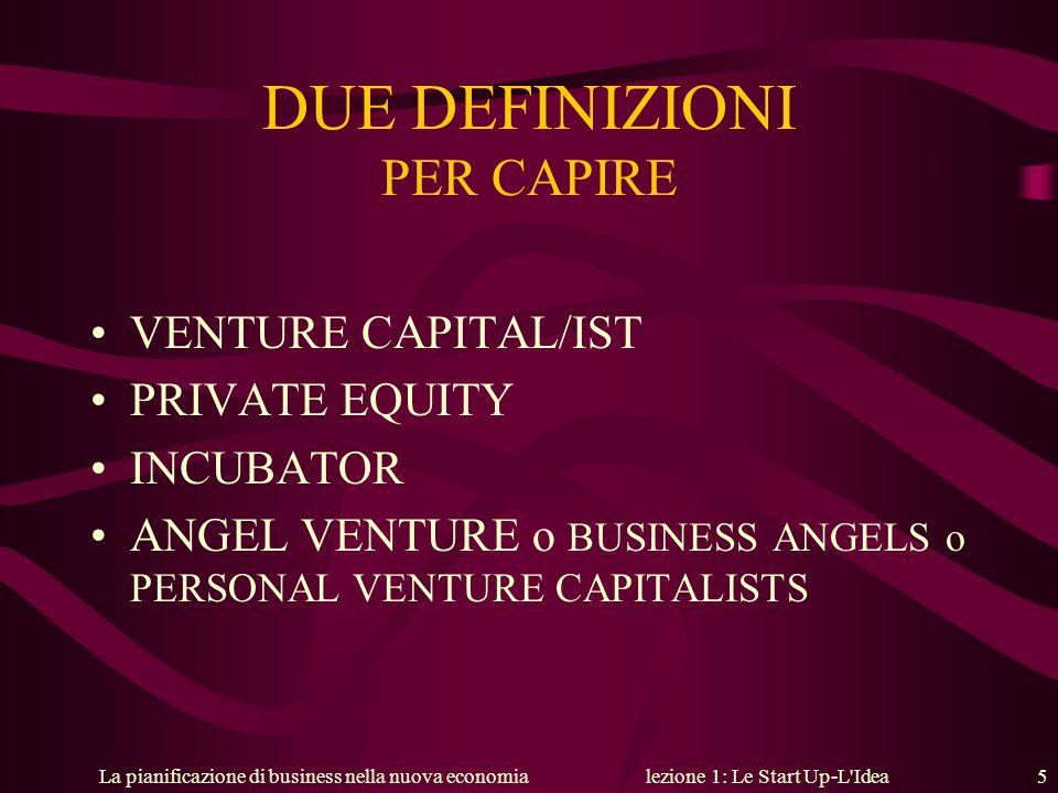 La pianificazione di business nella nuova economialezione 1: Le Start Up-L'Idea 5 DUE DEFINIZIONI PER CAPIRE VENTURE CAPITAL/IST PRIVATE EQUITY INCUBA