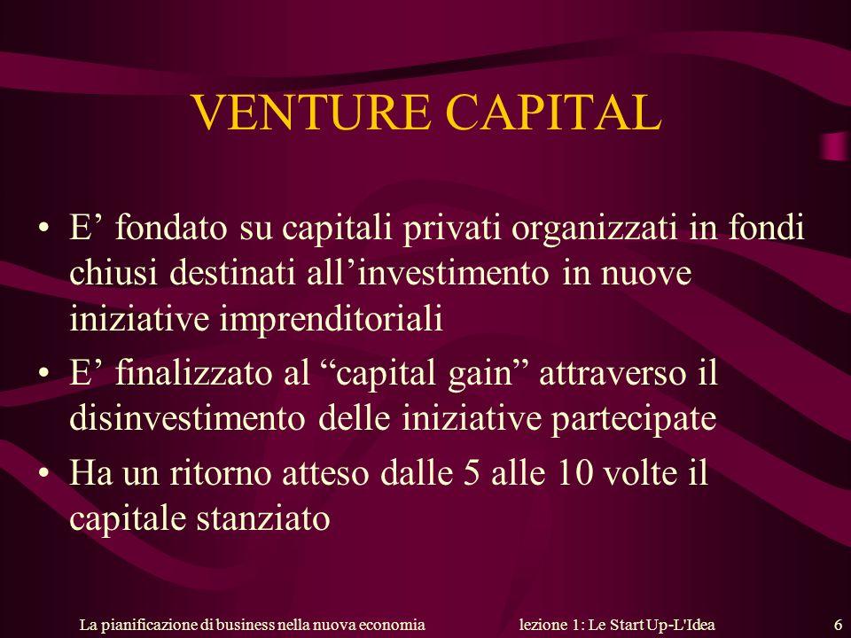 La pianificazione di business nella nuova economialezione 1: Le Start Up-L'Idea 6 VENTURE CAPITAL E fondato su capitali privati organizzati in fondi c