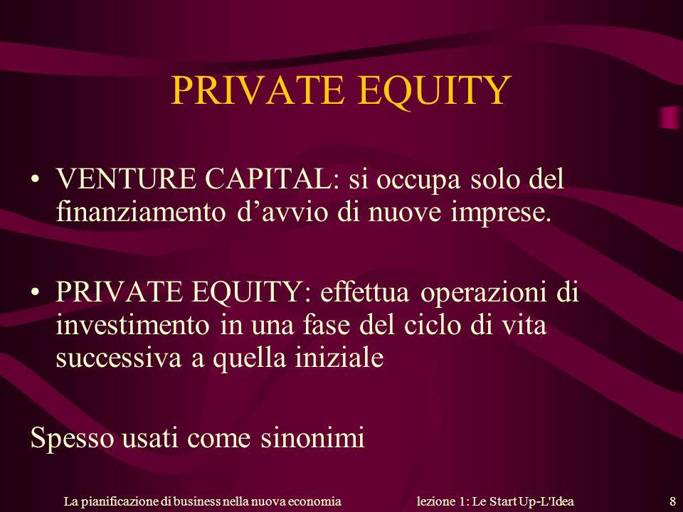 La pianificazione di business nella nuova economialezione 1: Le Start Up-L'Idea 8 PRIVATE EQUITY VENTURE CAPITAL: si occupa solo del finanziamento dav