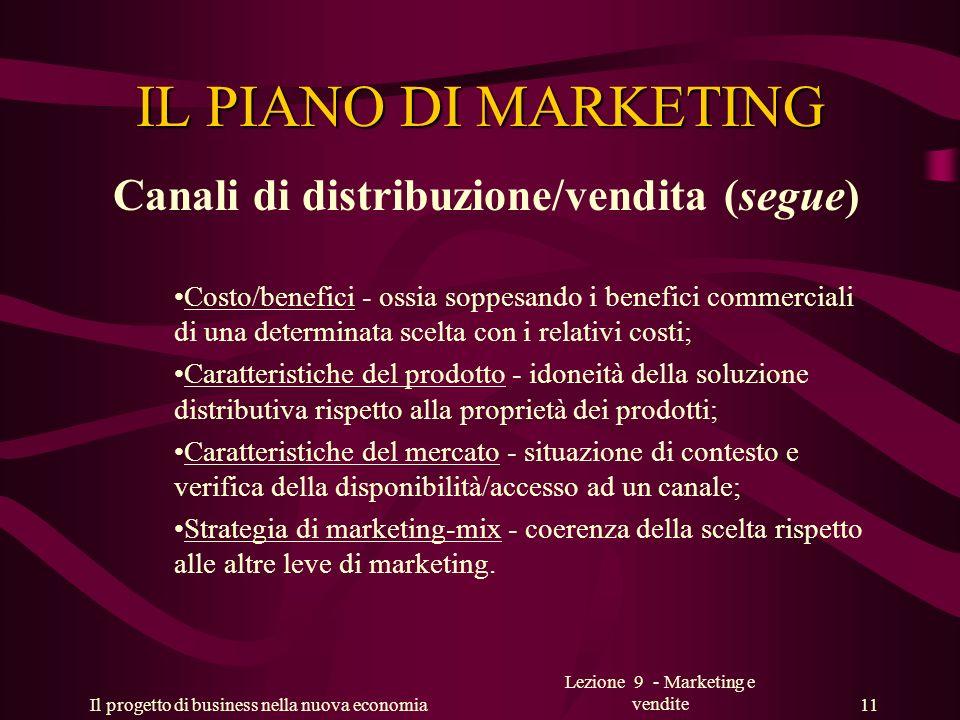Il progetto di business nella nuova economia Lezione 9 - Marketing e vendite 11 IL PIANO DI MARKETING Canali di distribuzione/vendita (segue) Costo/be