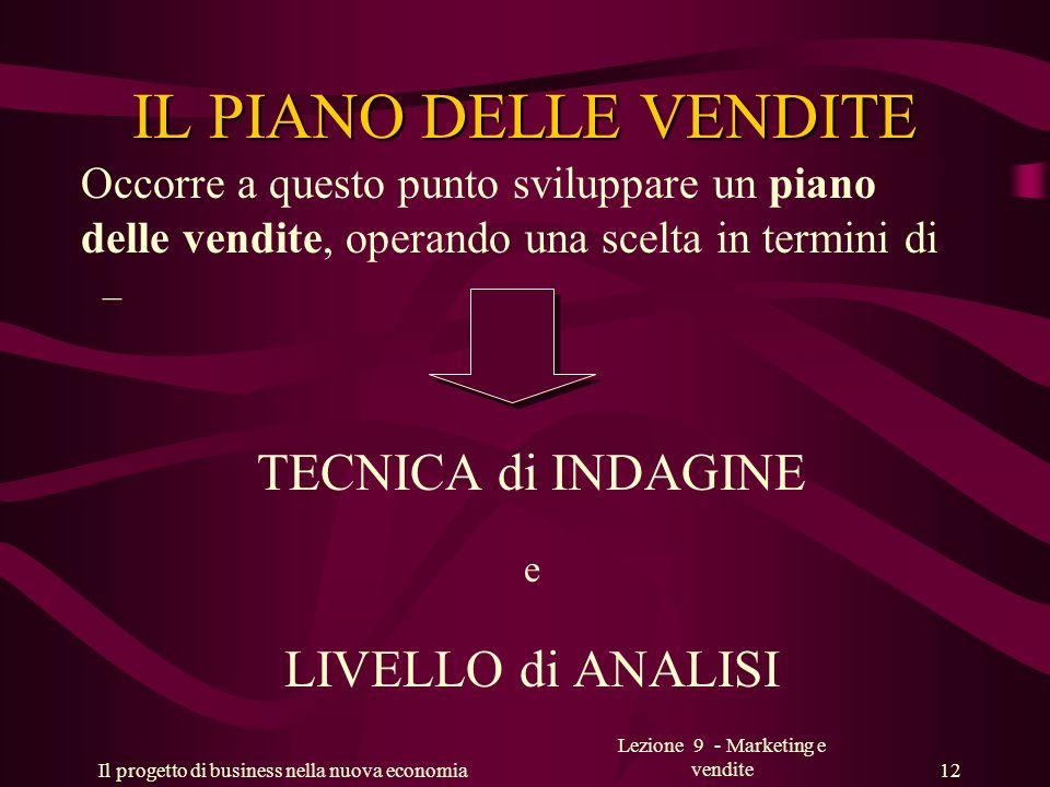 Il progetto di business nella nuova economia Lezione 9 - Marketing e vendite 12 IL PIANO DELLE VENDITE Occorre a questo punto sviluppare un piano dell