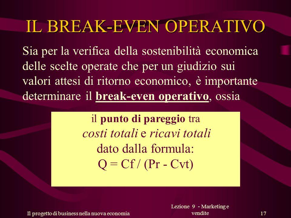 Il progetto di business nella nuova economia Lezione 9 - Marketing e vendite 17 IL BREAK-EVEN OPERATIVO Sia per la verifica della sostenibilità econom