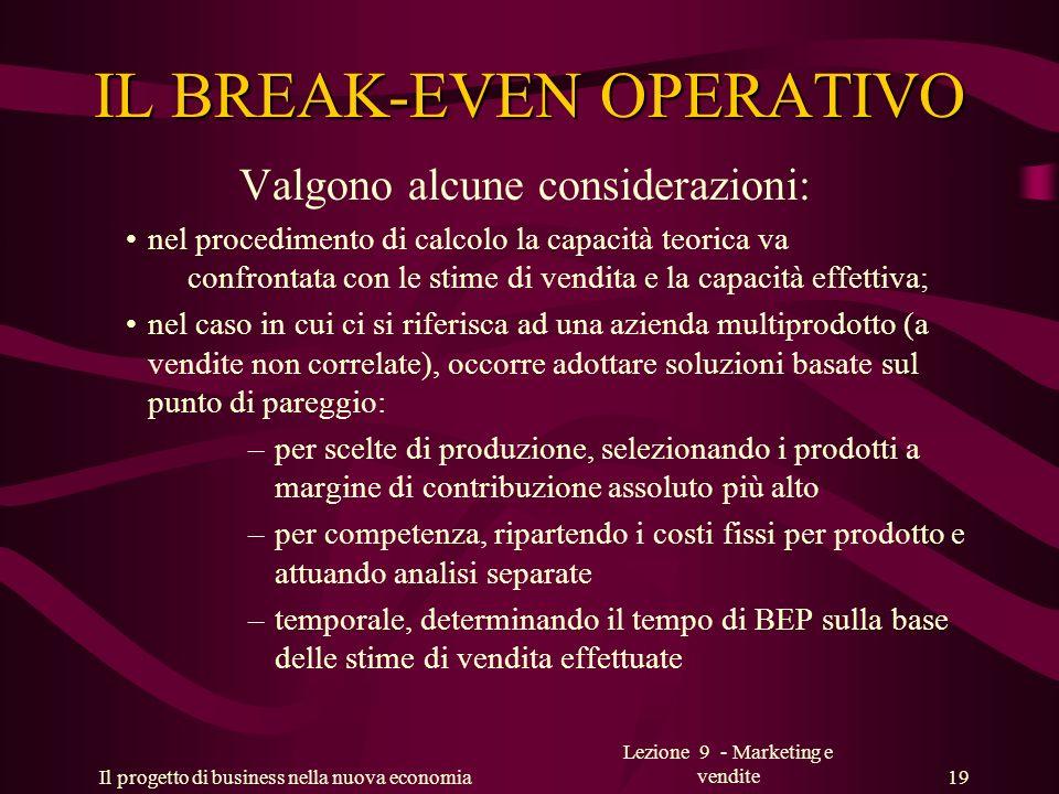 Il progetto di business nella nuova economia Lezione 9 - Marketing e vendite 19 IL BREAK-EVEN OPERATIVO Valgono alcune considerazioni: nel procediment