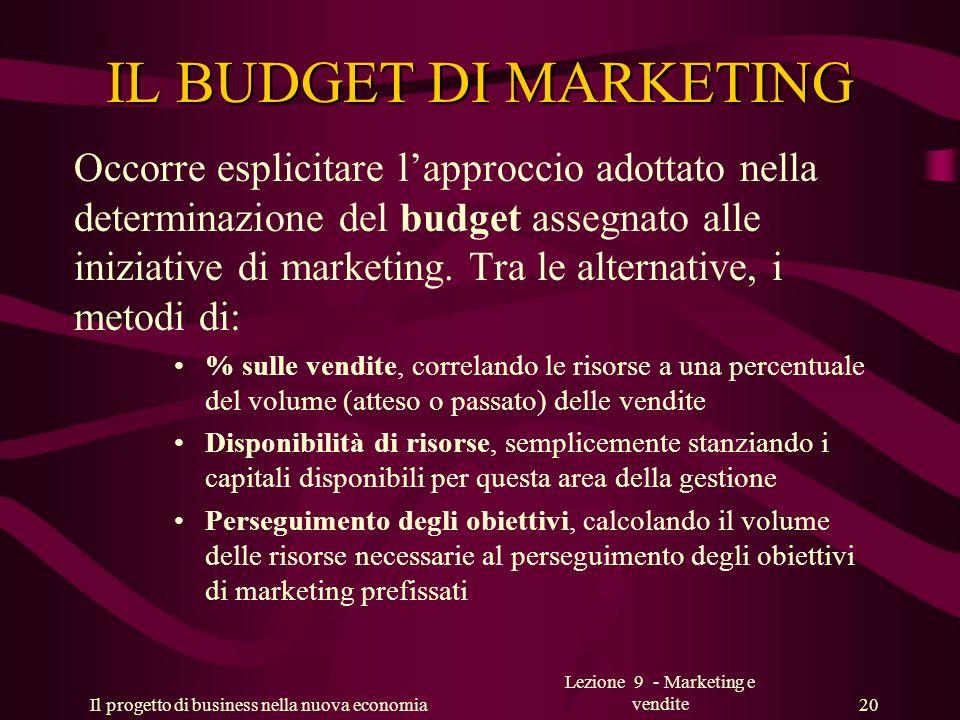 Il progetto di business nella nuova economia Lezione 9 - Marketing e vendite 20 IL BUDGET DI MARKETING Occorre esplicitare lapproccio adottato nella d