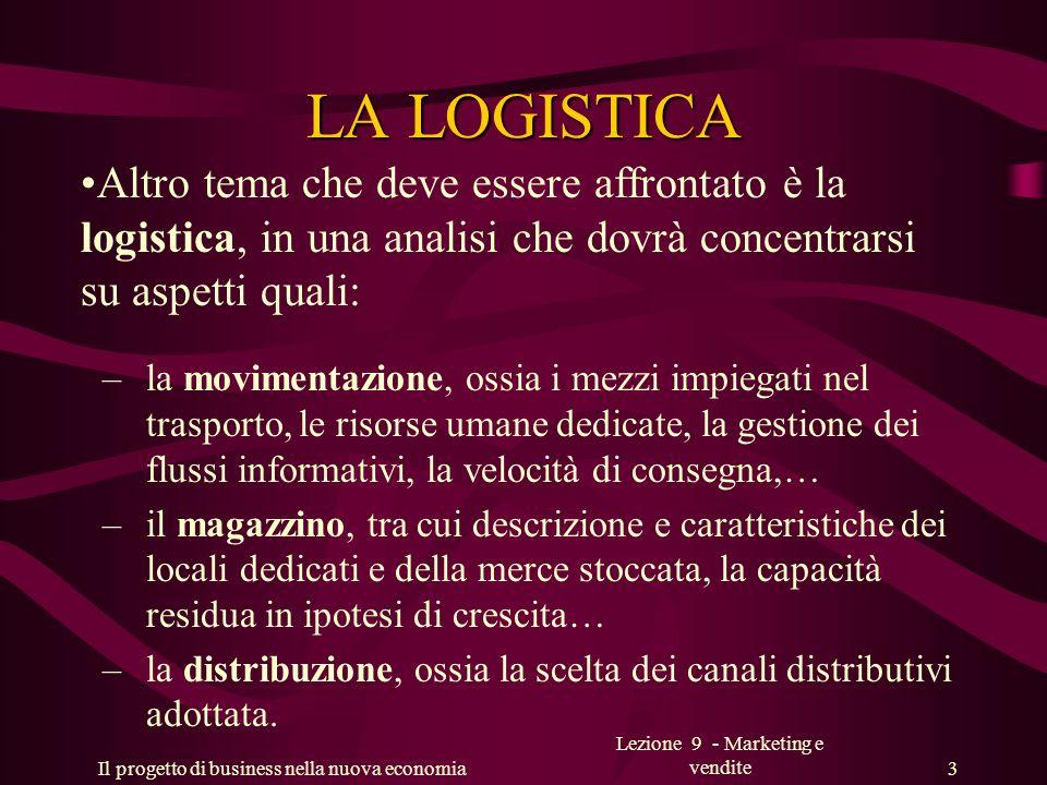 Il progetto di business nella nuova economia Lezione 9 - Marketing e vendite 3 LA LOGISTICA Altro tema che deve essere affrontato è la logistica, in u