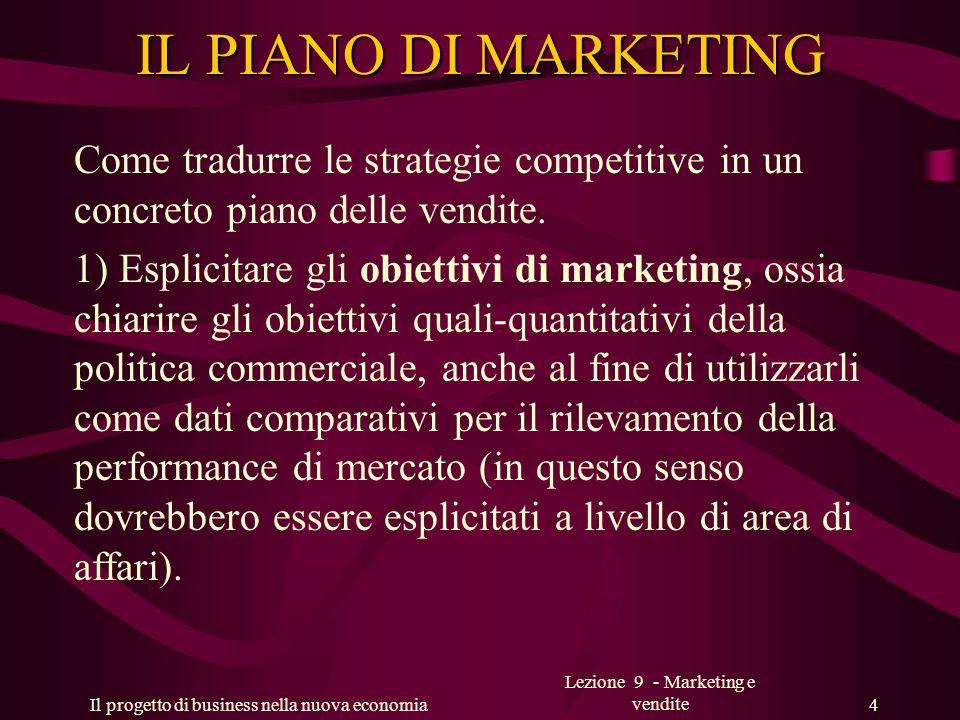 Il progetto di business nella nuova economia Lezione 9 - Marketing e vendite 5 IL PIANO DI MARKETING 2) Verificare la coerenza delle strategie commerciali correnti non solamente con la politica di marketing ma soprattutto con le complessive strategie aziendali, da quella competitiva a quella sociale.