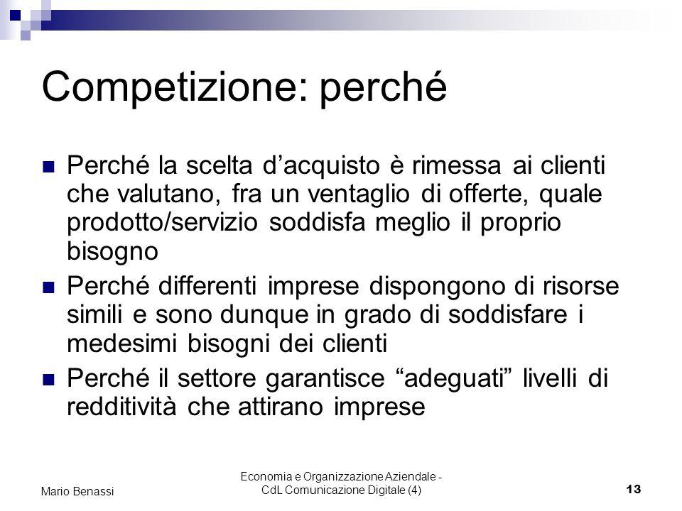 Economia e Organizzazione Aziendale - CdL Comunicazione Digitale (4)13 Mario Benassi Competizione: perché Perché la scelta dacquisto è rimessa ai clie