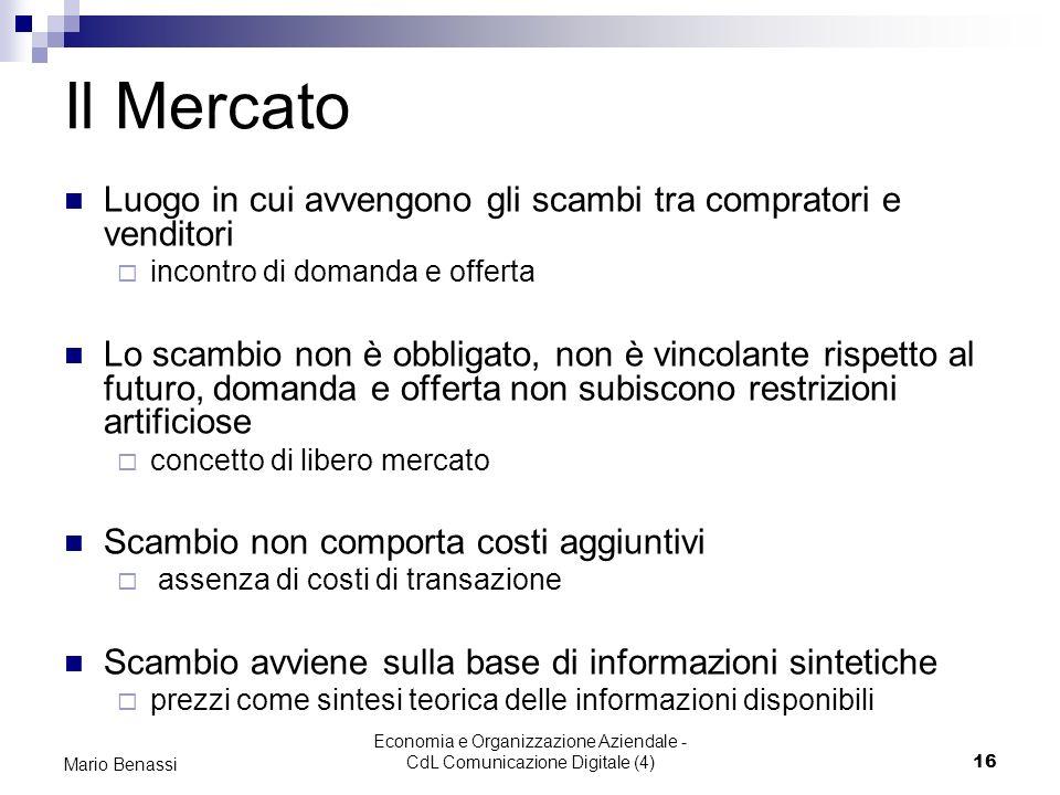 Economia e Organizzazione Aziendale - CdL Comunicazione Digitale (4)16 Mario Benassi Il Mercato Luogo in cui avvengono gli scambi tra compratori e ven