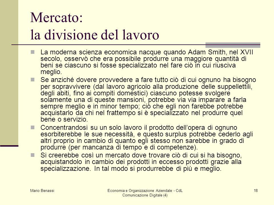 Mario Benassi Economia e Organizzazione Aziendale - CdL Comunicazione Digitale (4) 18 Mercato: la divisione del lavoro La moderna scienza economica na