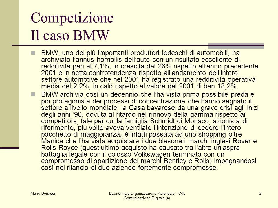 Mario Benassi Economia e Organizzazione Aziendale - CdL Comunicazione Digitale (4) 2 Competizione Il caso BMW BMW, uno dei più importanti produttori t