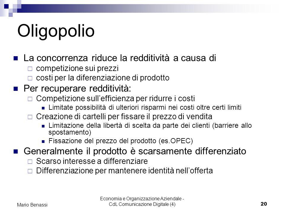 Economia e Organizzazione Aziendale - CdL Comunicazione Digitale (4)20 Mario Benassi Oligopolio La concorrenza riduce la redditività a causa di compet