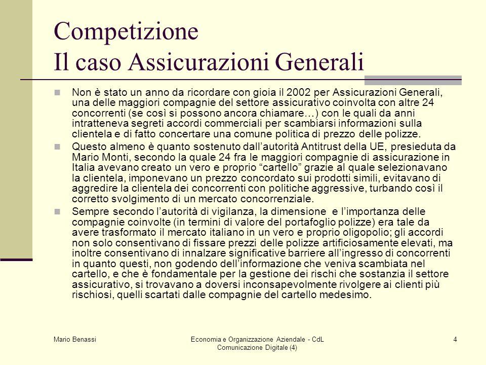 Mario Benassi Economia e Organizzazione Aziendale - CdL Comunicazione Digitale (4) 4 Competizione Il caso Assicurazioni Generali Non è stato un anno d