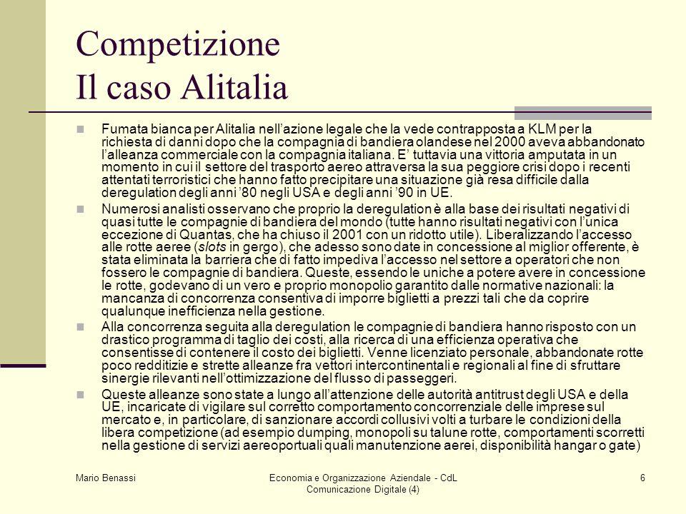 Mario Benassi Economia e Organizzazione Aziendale - CdL Comunicazione Digitale (4) 6 Competizione Il caso Alitalia Fumata bianca per Alitalia nellazio