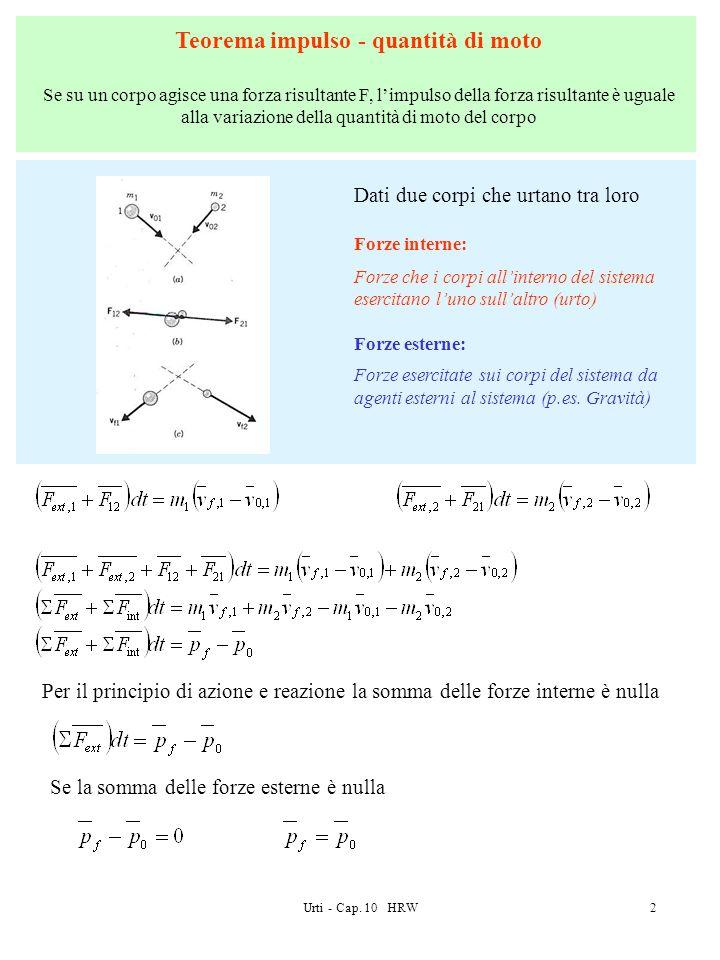 Urti - Cap. 10 HRW2 Teorema impulso - quantità di moto Se su un corpo agisce una forza risultante F, limpulso della forza risultante è uguale alla var