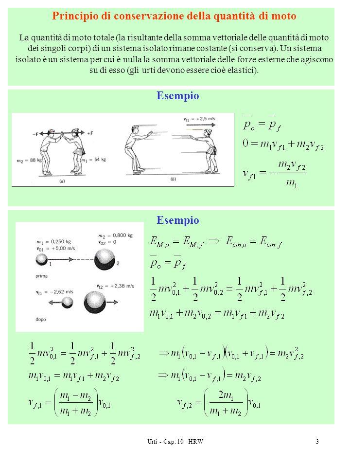 Urti - Cap. 10 HRW3 Principio di conservazione della quantità di moto La quantità di moto totale (la risultante della somma vettoriale delle quantità