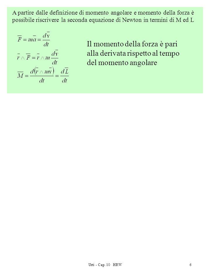 Urti - Cap. 10 HRW6 A partire dalle definizione di momento angolare e momento della forza è possibile riscrivere la seconda equazione di Newton in ter