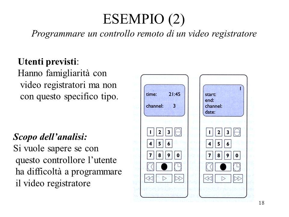 18 ESEMPIO (2) Programmare un controllo remoto di un video registratore Utenti previsti: Hanno famigliarità con video registratori ma non con questo specifico tipo.