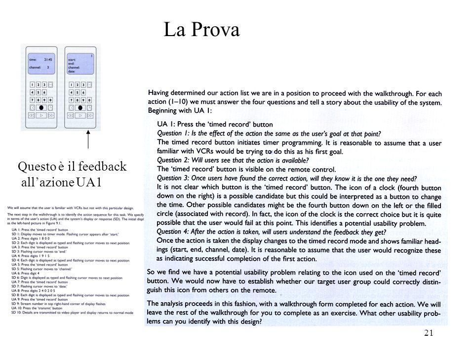 21 La Prova Questo è il feedback allazione UA1