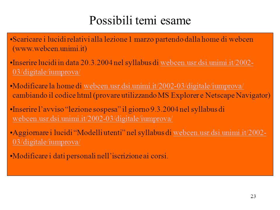 23 Possibili temi esame Scaricare i lucidi relativi alla lezione 1 marzo partendo dalla home di webcen (www.webcen.unimi.it) Inserire lucidi in data 2