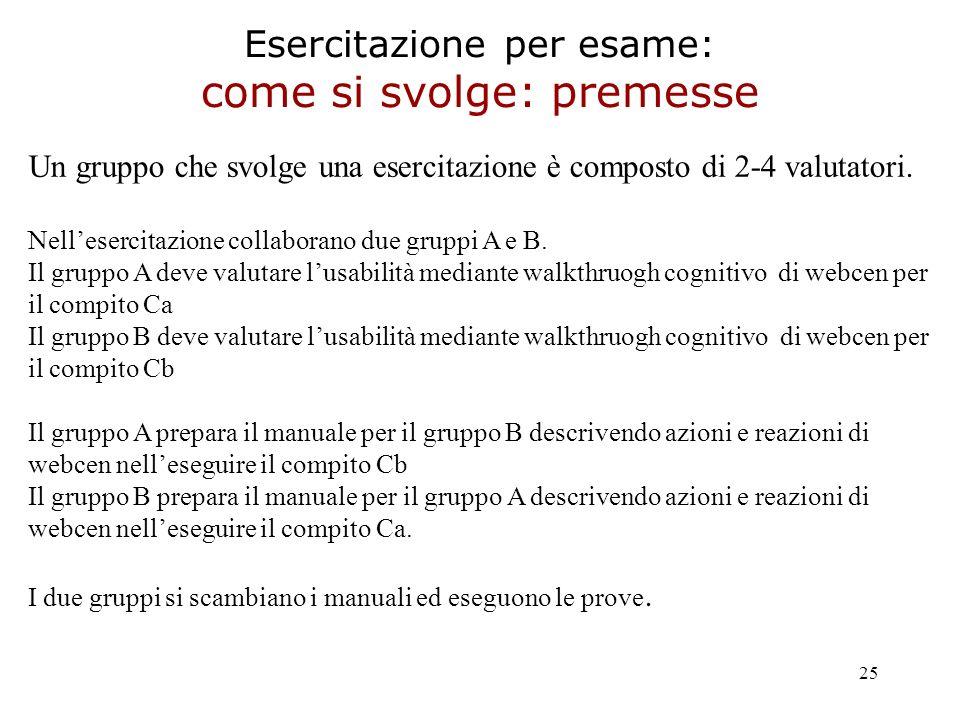25 Esercitazione per esame: come si svolge: premesse Un gruppo che svolge una esercitazione è composto di 2-4 valutatori.