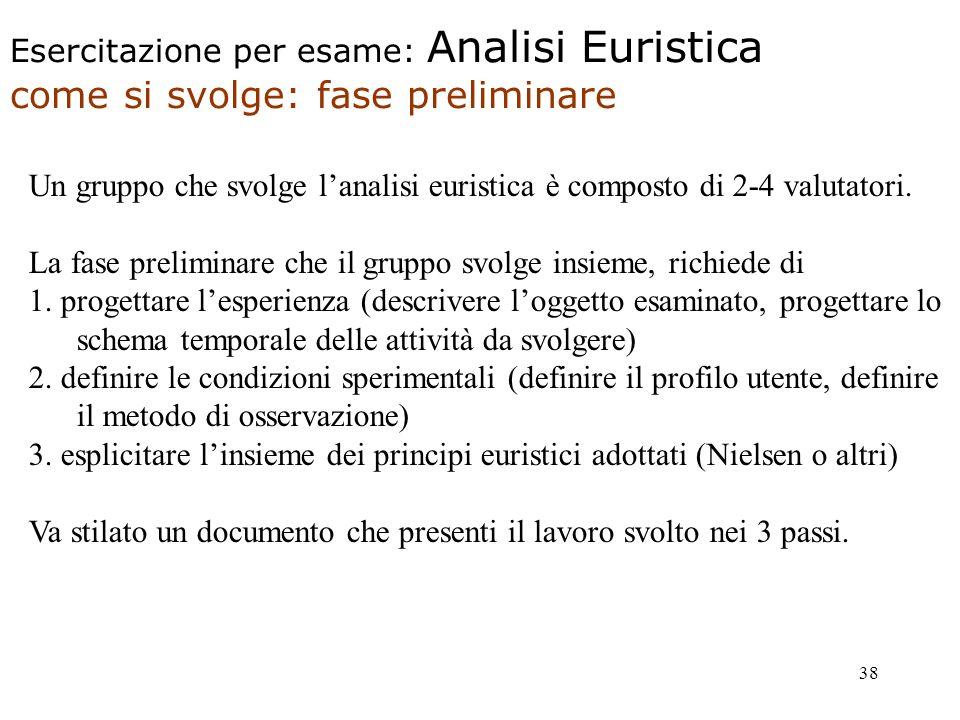 38 Un gruppo che svolge lanalisi euristica è composto di 2-4 valutatori.