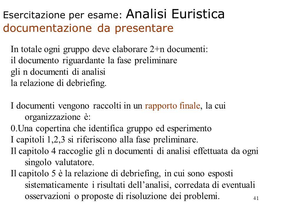 41 Esercitazione per esame: Analisi Euristica documentazione da presentare In totale ogni gruppo deve elaborare 2+n documenti: il documento riguardante la fase preliminare gli n documenti di analisi la relazione di debriefing.