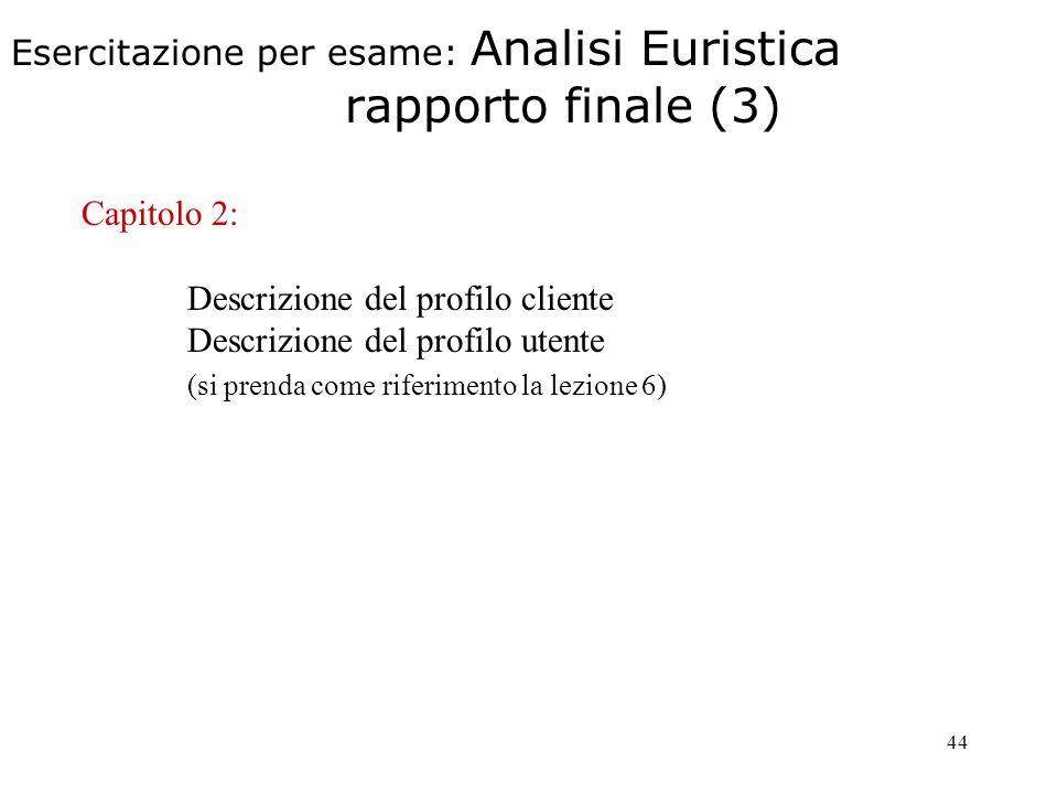 44 Esercitazione per esame: Analisi Euristica rapporto finale (3) Capitolo 2: Descrizione del profilo cliente Descrizione del profilo utente (si prenda come riferimento la lezione 6)