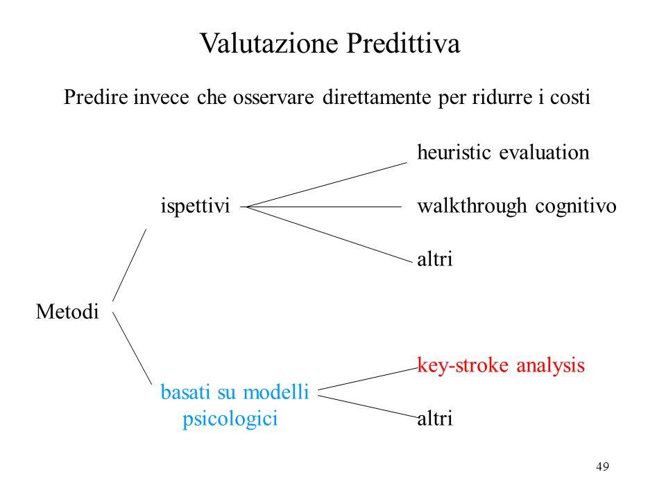49 Valutazione Predittiva Predire invece che osservare direttamente per ridurre i costi heuristic evaluation ispettiviwalkthrough cognitivo altri Metodi key-stroke analysis basati su modelli psicologicialtri