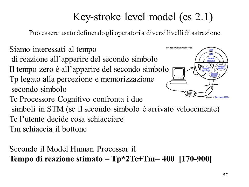 57 Key-stroke level model (es 2.1) Può essere usato definendo gli operatori a diversi livelli di astrazione.