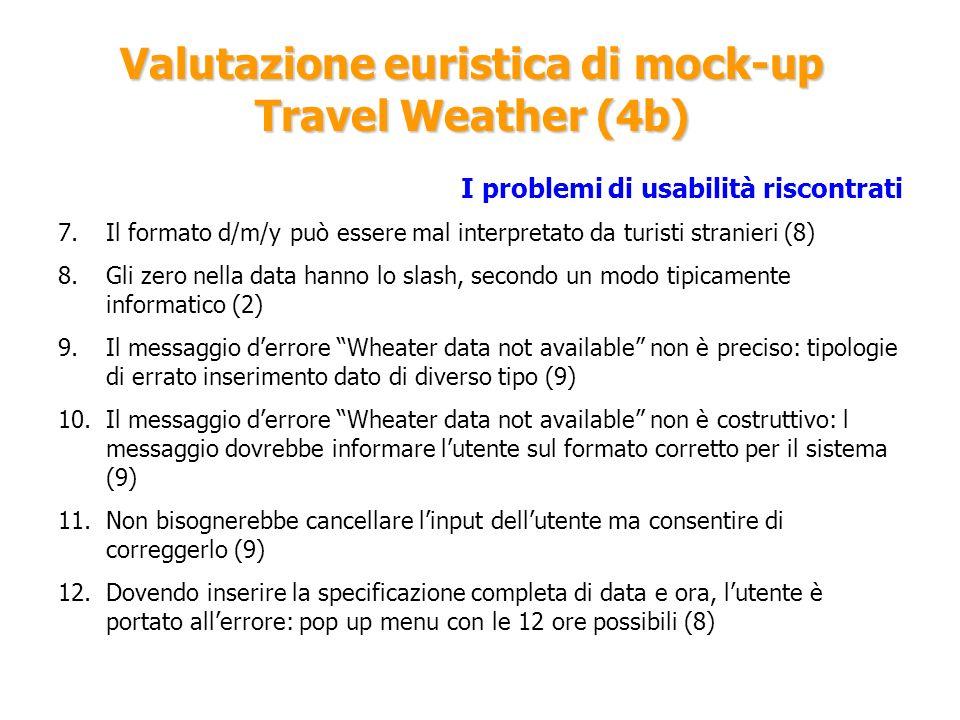 Valutazione euristica di mock-up Travel Weather (4b) I problemi di usabilità riscontrati 7.Il formato d/m/y può essere mal interpretato da turisti str