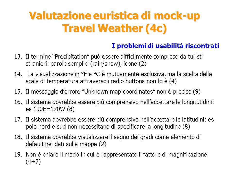 Valutazione euristica di mock-up Travel Weather (4c) I problemi di usabilità riscontrati 13.Il termine Precipitation può essere difficilmente compreso