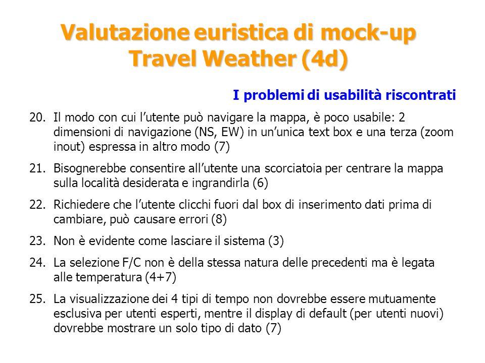 Valutazione euristica di mock-up Travel Weather (4d) I problemi di usabilità riscontrati 20.Il modo con cui lutente può navigare la mappa, è poco usab