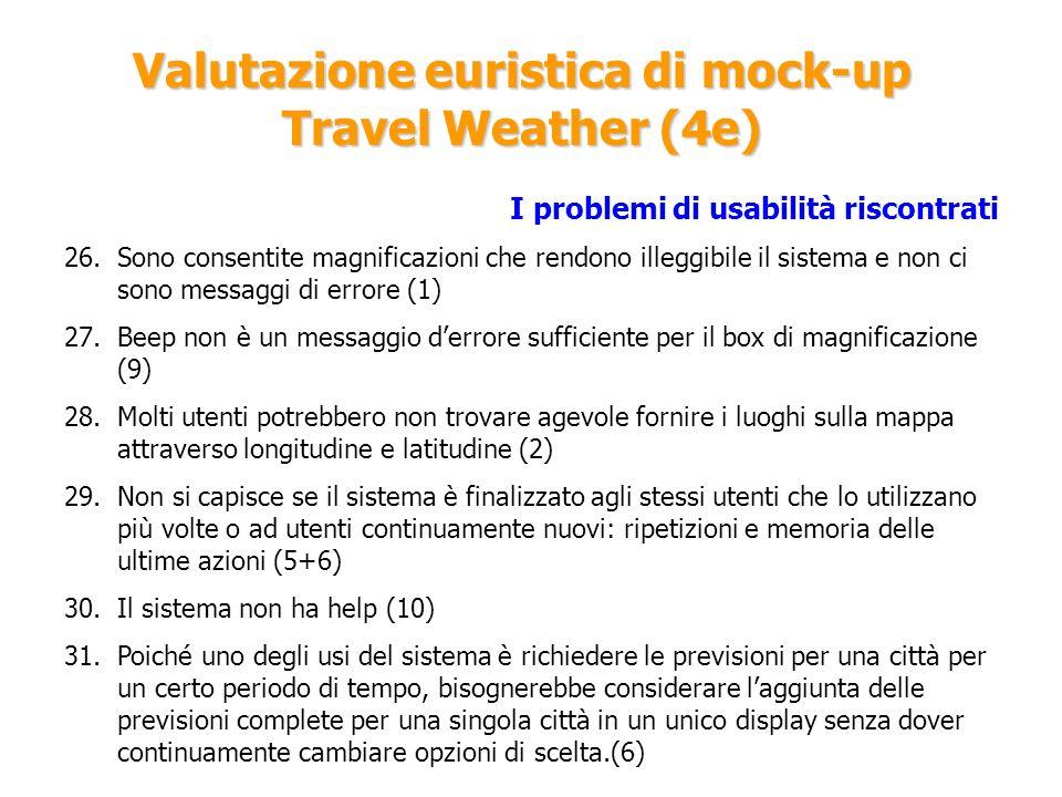 Valutazione euristica di mock-up Travel Weather (4e) I problemi di usabilità riscontrati 26.Sono consentite magnificazioni che rendono illeggibile il