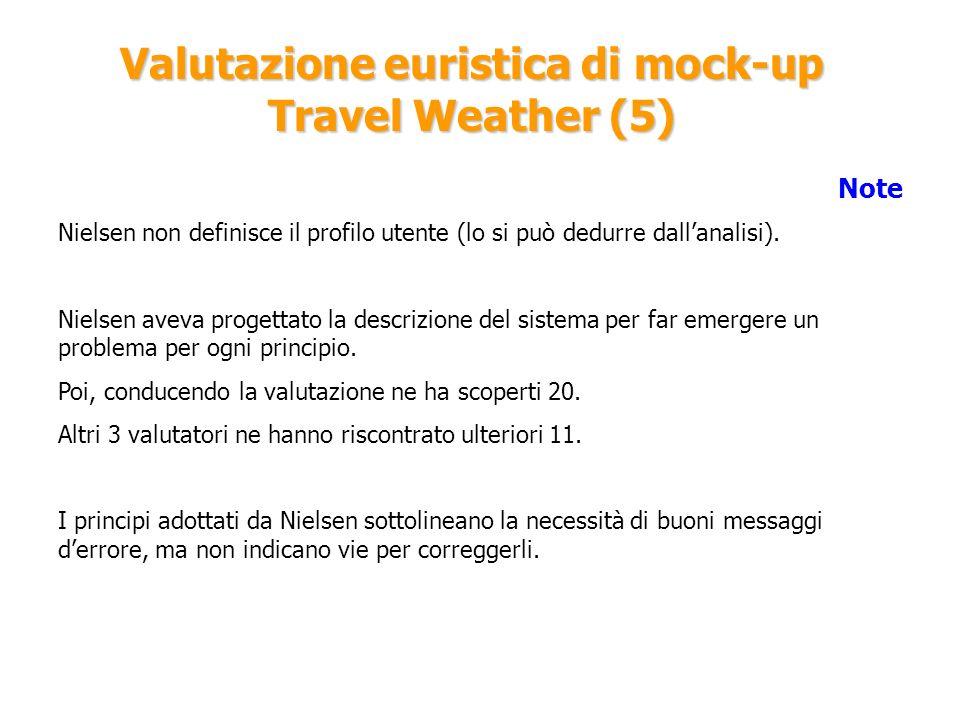Valutazione euristica di mock-up Travel Weather (5) Note Nielsen non definisce il profilo utente (lo si può dedurre dallanalisi). Nielsen aveva proget