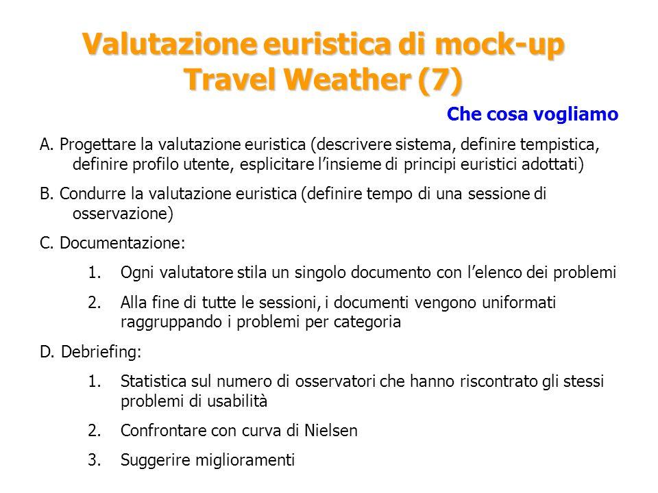 Valutazione euristica di mock-up Travel Weather (7) Che cosa vogliamo A. Progettare la valutazione euristica (descrivere sistema, definire tempistica,