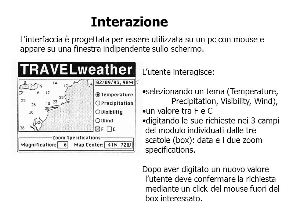 Interazione Linterfaccia è progettata per essere utilizzata su un pc con mouse e appare su una finestra indipendente sullo schermo. Lutente interagisc