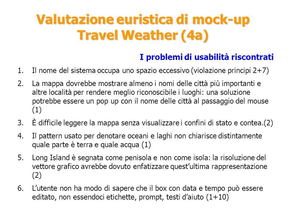 Valutazione euristica di mock-up Travel Weather (4a) I problemi di usabilità riscontrati 1.Il nome del sistema occupa uno spazio eccessivo (violazione