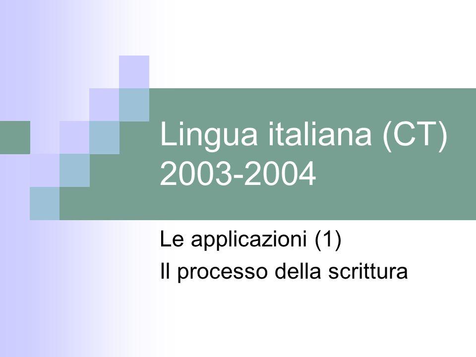 Lingua italiana (CT) 2003-2004 Le applicazioni (1) Il processo della scrittura