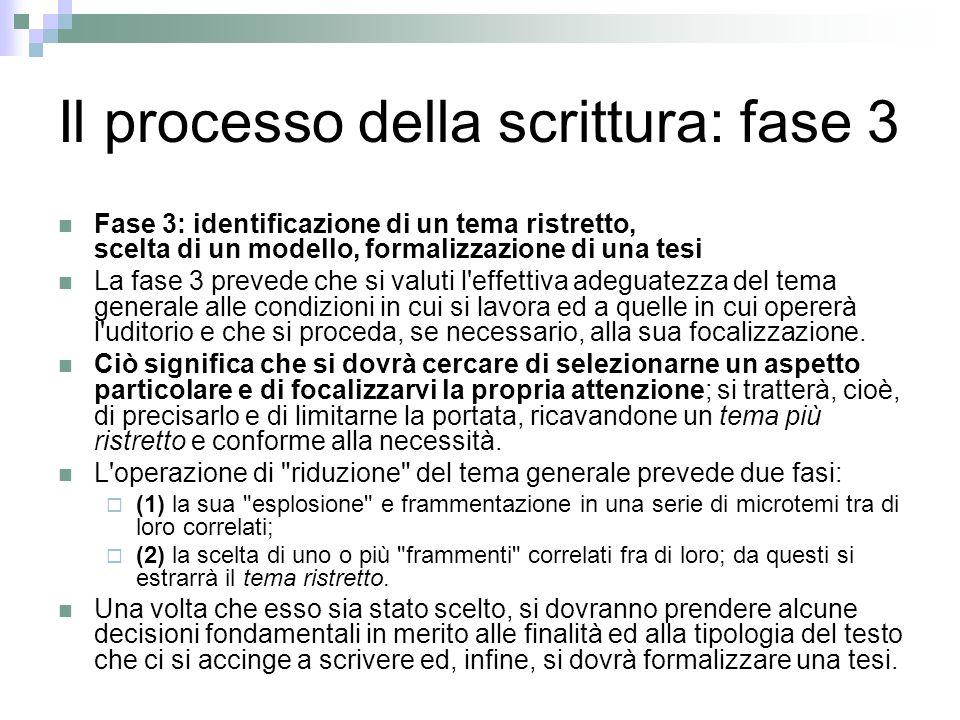 Il processo della scrittura: fase 3 Fase 3: identificazione di un tema ristretto, scelta di un modello, formalizzazione di una tesi La fase 3 prevede