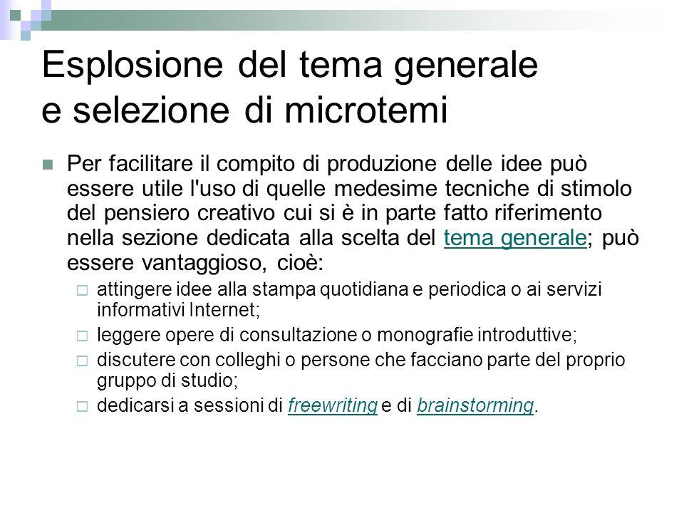 Esplosione del tema generale e selezione di microtemi Per facilitare il compito di produzione delle idee può essere utile l'uso di quelle medesime tec
