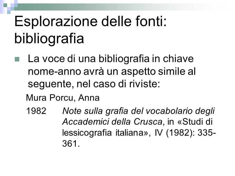 Esplorazione delle fonti: bibliografia La voce di una bibliografia in chiave nome-anno avrà un aspetto simile al seguente, nel caso di riviste: Mura P