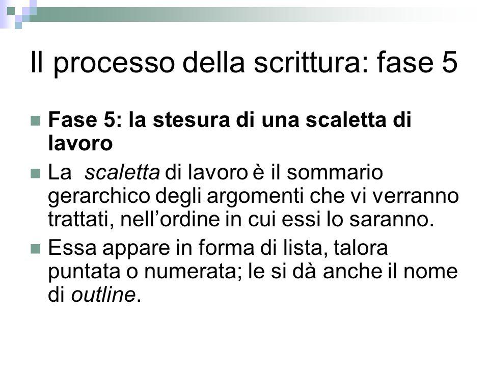 Il processo della scrittura: fase 5 Fase 5: la stesura di una scaletta di lavoro La scaletta di lavoro è il sommario gerarchico degli argomenti che vi